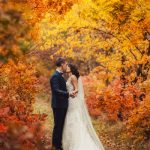 Bride Groom Autumn Scene