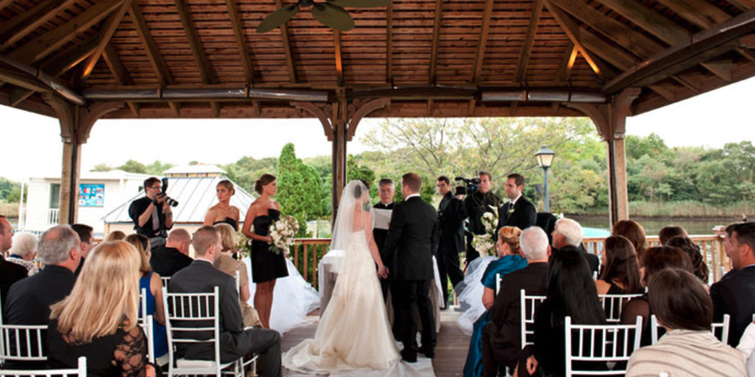 Wedding ceremony at the Riverside Pavilion